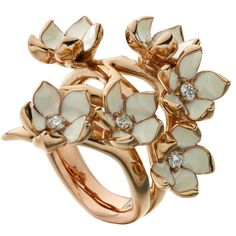 Shaun Leane diamond gold vermeil Full Blossom Ring  | From a unique collection of vintage cocktail rings at https://www.1stdibs.com/jewelry/rings/cocktail-rings/