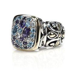 John Hardy Sterling Silver & 18K Gold Blue Topaz Lavafire Ring - $349.99