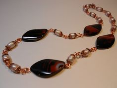 "Laura's European Jewellery  26 ""  Lace Agate and Fresh Water Pearls set in Copper   $150.00"