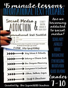 45 minute lesson plan for ELA grades 7-10! Informational text covering social media addiction in teenagers!