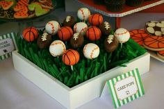 baseball cake pops display