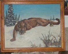 Vintage Painting, Vintage Cougar Painting, Cougar, Real Looking Painting, Vintage Home Decor, Home Decor,  3-17-59 ,Vintage Art work,:)s