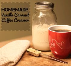 Homemade Vanilla Caramel Coffee Creamer - so easy an delicious!