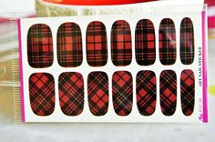 Free Shipping - Red plaid water transfer nail wrap, nail art decoration