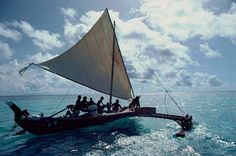 Traditional Yapese sailing canoe with outrigger used for longer journeys. Wood mainly Breadfruit tree