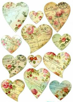 Shabby chic Hearts via Janine Vintage Tags, Vintage Diy, Vintage Labels, Vintage Paper, Vintage Prints, Shabby Vintage, Shabby Chic Paper, Shabby Chic Hearts, Decoupage Vintage