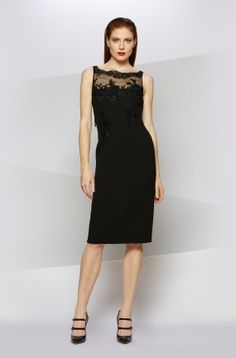 DOUBLE FACED CREPE COCKTAIL WITH ILLUSION TOP in Black - Carmen Marc Valvo