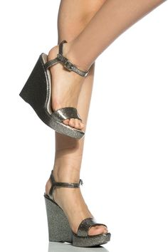 ff39522d184 Pewter Jelly Open Toe Ankle Strap Wedges   Cicihot Wedges Shoes Store Wedge  Shoes