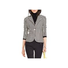 Polo Ralph Lauren Stripe Label Blazer ($215) ❤ liked on Polyvore featuring outerwear, jackets, blazers, bandw stripe, striped blazer, 3/4 sleeve jacket, 3/4 sleeve blazer, stripe jacket and tailored jacket