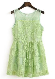 Green Stereo Disc Flowers Lace Pearl Yarn Dress