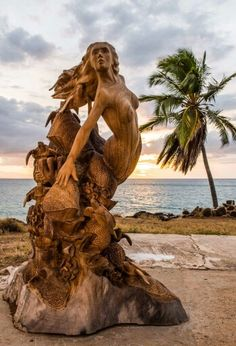 Mermaid over coral reef chainsaw carving by Dale Zarrella