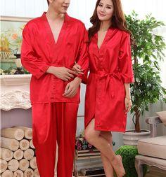 New Couples Pajamas Women Men Long Sleeve Home Clothing Vestido summer Nightwear Feminino Sleepwear Silk sleepping…