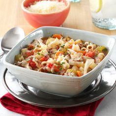 Slow Cooker Pasta e Fagioli Recipe -This is my favorite soup to make because it's so flavorful, hearty and healthy. I have served this hearty dish to guests and received many compliments. The soup will be thick, but delicious.—Penny Novy, Buffalo Grove, Illinois