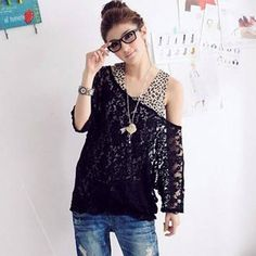 Sexy Leopard Pattern Fitted Vest+Loose Scoop Neck Lace Shirt Twinset For Women, BLACK, FREE SIZE in Blouses | DressLily.com