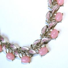 Vintage Judy Lee Pink Cabochon & Enamel Necklace by GeneralWhimsy2, $40.00