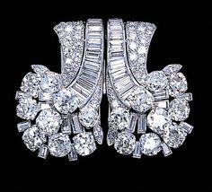 Image result for cartier art deco  diamond clips