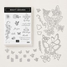 Beauty Abounds is a stamp set that is in the Stampin' Up! It has an amazing set of dies called Butterfly Beauty Thinlits. If you have not seen these dies, you need… Butterfly Birthday Cards, Butterfly Cards, Paper Butterflies, Scrapbooking, Scrapbook Paper, Thankful For Friends, Stampin Pretty, Send A Card, Wink Of Stella
