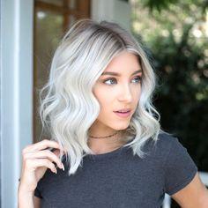 New Short White Hair Ideas 2019 - Blonde Hair Ice Blonde Hair, Silver Blonde Hair, Blonde Hair Looks, Icy Blonde, Icy Hair, Dark Roots Blonde Hair Short, White Blonde Highlights, Bleach Blonde Hair With Roots, White Hair With Lowlights