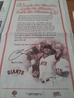 This is such a beautiful letter from Barry Zito. Miss you, Barry! <3