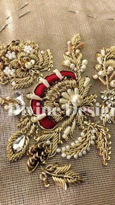 You can access more content by visiting the site. for orders - Zardosi Embroidery, Pearl Embroidery, Hand Embroidery Videos, Hand Work Embroidery, Couture Embroidery, Embroidery Motifs, Bead Embroidery Jewelry, Hand Embroidery Designs, Bead Embroidery Tutorial