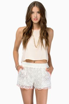 crop top with floral lace shorts