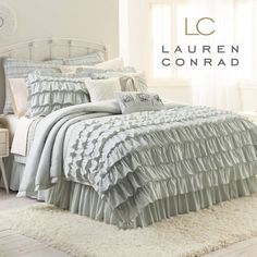 Love the ruffles!! Lauren Conrad bedding from khols. Also comes in pink:)