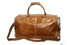 TAN LARGE HOLDALL LEATHER TRAVEL, SPORTS, WEEKEND, CARRIER BAG