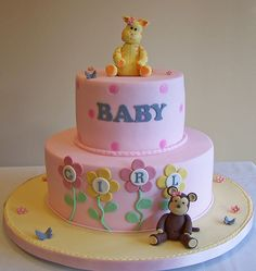 Baby Shower cake - baby giraffe and baby monkey by cakespace - Beth (Chantilly Cake Designs), via Flickr