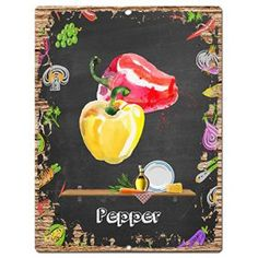 Pepper wall art, wildly popular and incredibly cute.  Great for kitchen wall decor and compliments most home decor theme from rustic, vintage, country and especially modern.   Consider combining pepper wall clocks, pepper decorative signs, along with #pepper canvas art to create a pepper kitchen theme or better yet culinary wall decorations.  Pepper Sign Rustic Vintage Retro Kitchen Bar Pub Coffee Shop Wall Decor