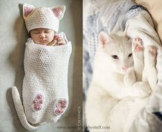 Baby Knitting Patterns Cat Baby Cocoon Hat & Bootie Set