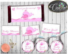 Pink Whale Baby Shower Girl HERSHEY wrappers and labels nautical pink printable theme, digital files, Jpg Pdf, instant download - wbl02 #babyshowerparty #babyshowerinvites