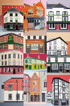 Manchester Pubs by Sue Scott - Manchester Art Prints Painting Prints, Fine Art Prints, Manchester Art, Unique Art, Print Design, Illustration, Artwork, Artists, Landscape