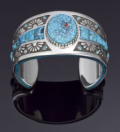 Cuff | Michael Perry.  Sterling silver with inlay of spiderweb Kingman turquoise