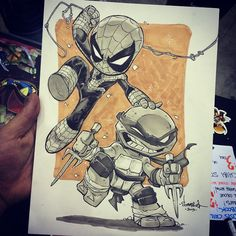 Awesome con sketch request! Chibi Spidey and Raph ready to brawl!  Next stop is ADELAIDE for @ozcomiccon this weekend - I'm taking sketch requests for pick up at the show, so get in touch if you want something!