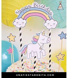 Topper para tarta de unicornio y estrellas