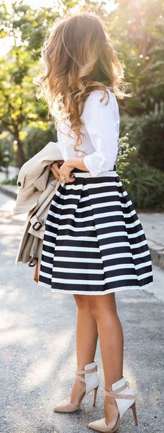 Striped Skirt Ladylike Style