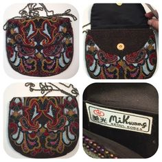 Vintage Mik Wang Hand Beaded exquisite handbag Designer Mik Wang Hand rare vintage beaded evening bag From Korea this is a one of a kind. Great condition.  Magnetic closure.  This handbag is just stunning. No rips, tears, stains, or missing beads. Milk Wang Bags Mini Bags