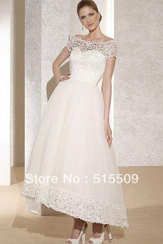 Best Seller! Garden Wedding Dress Bateau Short Sleeve Ball Gown Ankle ...