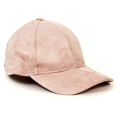 SPRUNG NUDE FAUX SUEDE CAP ($2.89) ❤ liked on Polyvore featuring accessories, hats, 5-panel hat, baseball cap, baseball hats, peaked cap and caps hats
