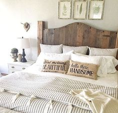 Home Decorating Ideas Farmhouse Farmhouse bedroom with striped duvet, burlap pillows and wood headboard. Home Decorating Ideas Farmhouse Source : Farmhouse bedroom with striped duvet, burlap pillows and wood headboard. by StatusNotFound Share Farmhouse Master Bedroom, Home Bedroom, Bedroom Ideas, Gray Bedroom, Bedroom Inspiration, Master Bedrooms, Bedroom Images, Bedroom Designs, Light Bedroom