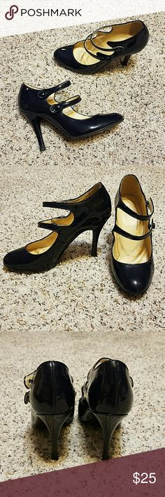 J.CREW Navy double strap heels Pre-owned, vintage feel heels.  Navy color.  Classic and chic style. J. Crew Shoes Heels