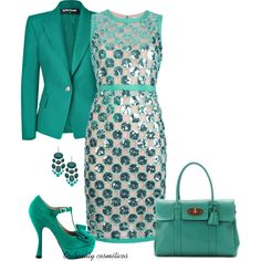 A beauty collage from August 2013 featuring emerald earrings, leather totes and sleeveless dress. Browse and shop related looks. Classy Outfits, Pretty Outfits, Chic Outfits, Pretty Dresses, Dress Outfits, Stylish Dresses, Women's Fashion Dresses, Elegant Dresses, Vintage Dresses