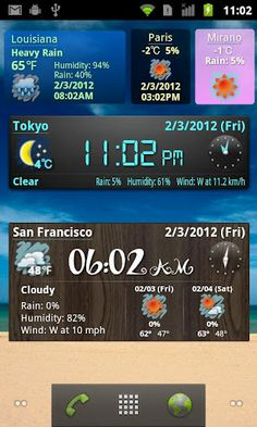 World Weather Clock Widget:  I really like the widget interface with this app!