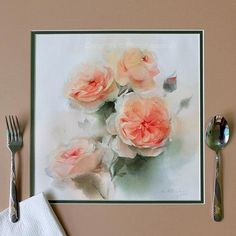 """I'm having lunch...How about you? """"Daylight in summertime"""" By Phatcharaphan Chanthep  #watercolor #watercolorist #art #artist #artwork #arts_help #love #paint #painting #daylight #summertime #coral #flower #roses"""