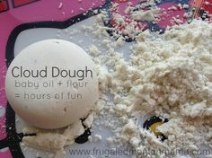 How to Make Cloud Dough (just like moon sand!) 4 cups of flour and a half cup of baby oil- done!