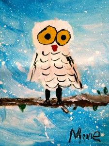 snow owl art project for kids Class Art Projects, Winter Art Projects, Owl Art, Bird Art, Kindergarten Art, Preschool, Winter Painting, Art Lessons Elementary, Autumn Art