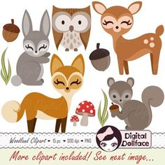"""This 15 piece clipart set is great for any woodland animal / forest friends theme! Check out my preview image to see all included graphics.Quick Specifics:* 300dpi files - high resolution* Clipart files are: PNG (transparent background)* One zip file includes the following clipart files: (sizes can be scaled down without losing quality)- fox 1 & 2: 6"""" x 5.75- deer 1: 5.75"""" x 6""""- deer 2 (w/ antlers): 6"""" x 7.5""""- owl 1 & 2: 5"""" x 6""""- bunny 1 & 2: 3"""" x 6""""- squirrel 1 & 2: 6"""" x 5.75..."""