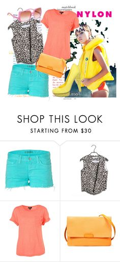"""Loud!!"" by keira18 ❤ liked on Polyvore featuring J Brand, Gomax, Zara, Miu Miu, Hudson Jeans, color blocking, denim shorts, nylon, sunglasses and jbrand"