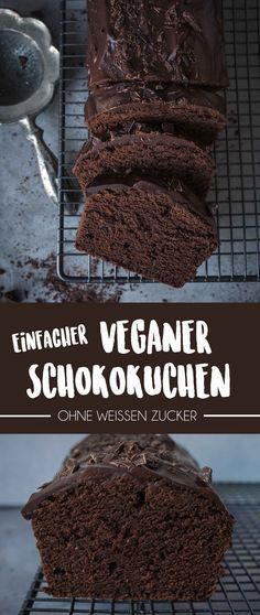 Simple vegan chocolate cake (made in under 1 hour .- Einfacher Veganer Schokoladenkuchen (Gemacht in unter 1 Stunde) Are you just in the mood for something uncomplicated that is quick but still tasty? Try this simple vegan chocolate cake! Chocolate Cake Recipe Easy, Chocolate Recipes, Cake Chocolate, Melted Chocolate, Vegan Chocolate Brownies, Coconut Milk Chocolate, Chocolate Dishes, Craving Chocolate, Peppermint Chocolate