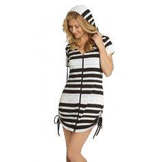 9c44f57c39aa6 Dotti Line List Tunic Hoodie Cover Up White/Black Beachwear For Women,  Women Swimsuits